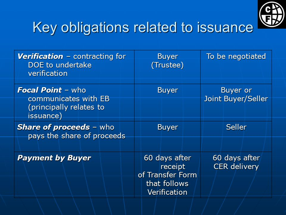 Key obligations related to issuance Verification – contracting for DOE to undertake verification Buyer(Trustee) To be negotiated Focal Point – who communicates with EB (principally relates to issuance) Buyer Buyer or Joint Buyer/Seller Share of proceeds – who pays the share of proceeds BuyerSeller Payment by Buyer 60 days after receipt of Transfer Form that follows Verification 60 days after CER delivery