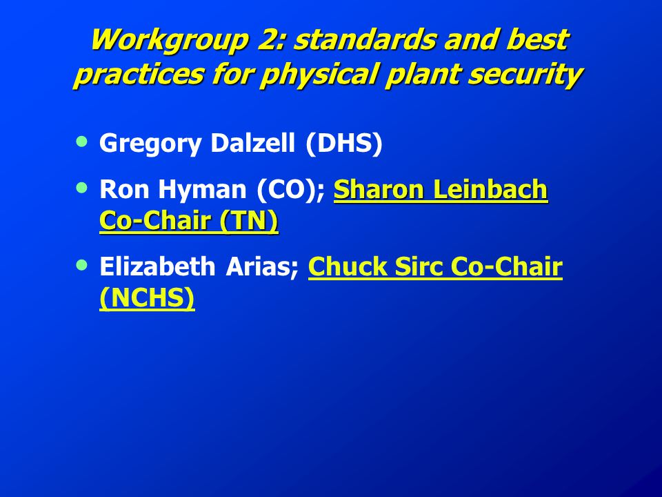 Workgroup 2: standards and best practices for physical plant security Gregory Dalzell (DHS) Sharon Leinbach Co-Chair (TN) Ron Hyman (CO); Sharon Leinbach Co-Chair (TN) Elizabeth Arias; Chuck Sirc Co-Chair (NCHS)