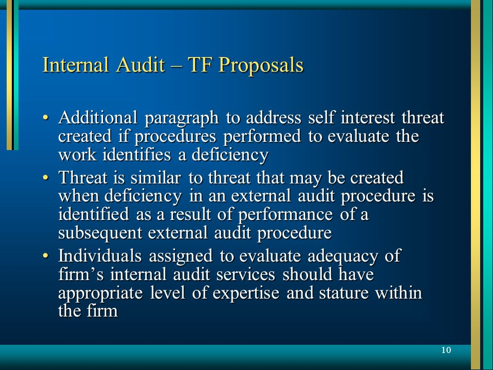 10 Internal Audit – TF Proposals Additional paragraph to address self interest threat created if procedures performed to evaluate the work identifies a deficiencyAdditional paragraph to address self interest threat created if procedures performed to evaluate the work identifies a deficiency Threat is similar to threat that may be created when deficiency in an external audit procedure is identified as a result of performance of a subsequent external audit procedureThreat is similar to threat that may be created when deficiency in an external audit procedure is identified as a result of performance of a subsequent external audit procedure Individuals assigned to evaluate adequacy of firm's internal audit services should have appropriate level of expertise and stature within the firmIndividuals assigned to evaluate adequacy of firm's internal audit services should have appropriate level of expertise and stature within the firm