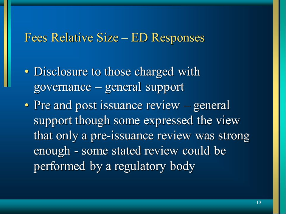 13 Fees Relative Size – ED Responses Disclosure to those charged with governance – general supportDisclosure to those charged with governance – general support Pre and post issuance review – general support though some expressed the view that only a pre-issuance review was strong enough - some stated review could be performed by a regulatory bodyPre and post issuance review – general support though some expressed the view that only a pre-issuance review was strong enough - some stated review could be performed by a regulatory body