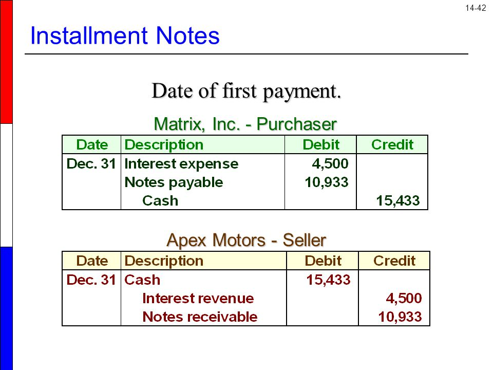 14-42 Installment Notes Date of first payment. Matrix, Inc. - Purchaser Apex Motors - Seller