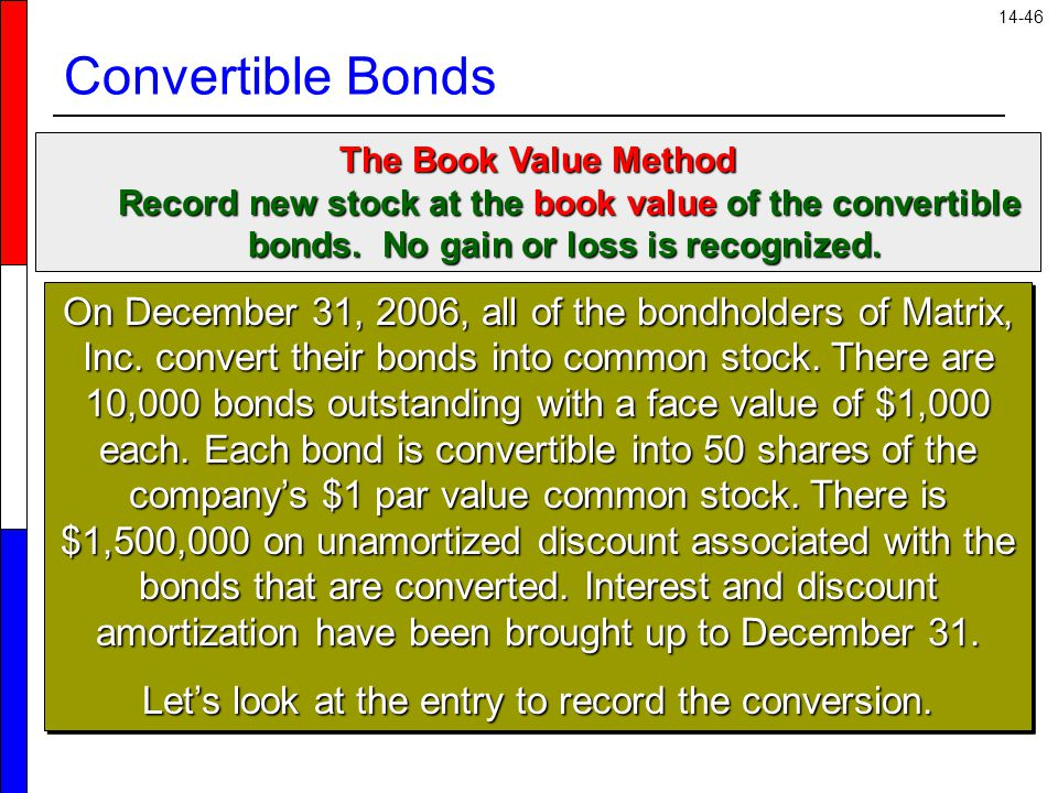 14-46 Convertible Bonds The Book Value Method Record new stock at the book value of the convertible bonds. No gain or loss is recognized. Record new s