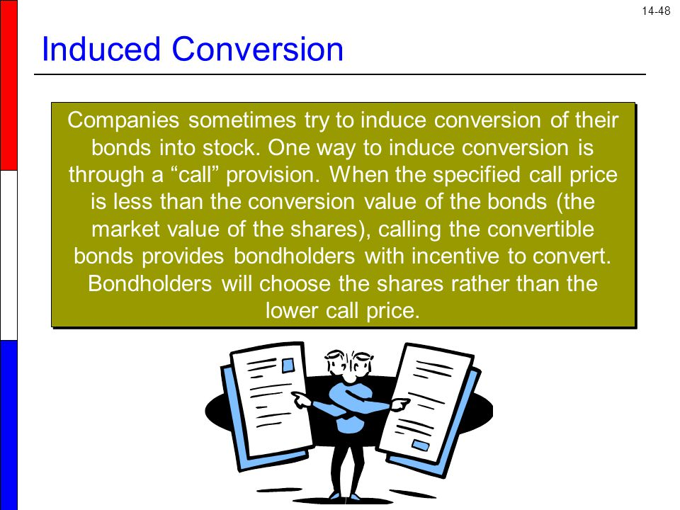 """14-48 Induced Conversion Companies sometimes try to induce conversion of their bonds into stock. One way to induce conversion is through a """"call"""" prov"""