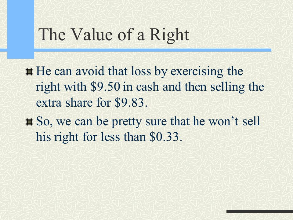 The Value of a Right He can avoid that loss by exercising the right with $9.50 in cash and then selling the extra share for $9.83.