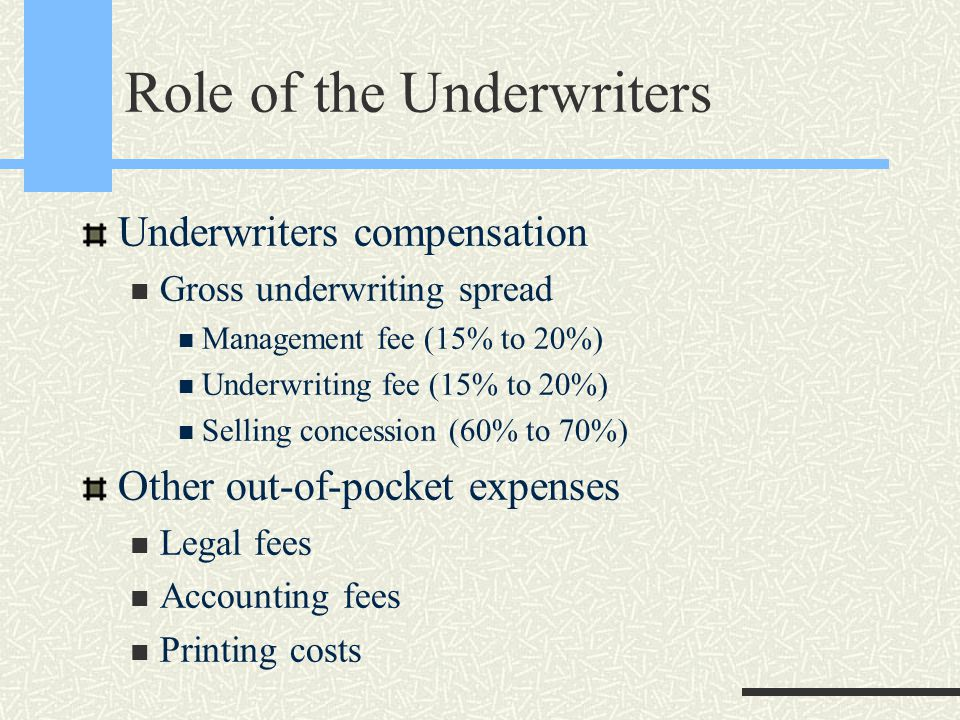 Role of the Underwriters Underwriters compensation Gross underwriting spread Management fee (15% to 20%) Underwriting fee (15% to 20%) Selling concession (60% to 70%) Other out-of-pocket expenses Legal fees Accounting fees Printing costs