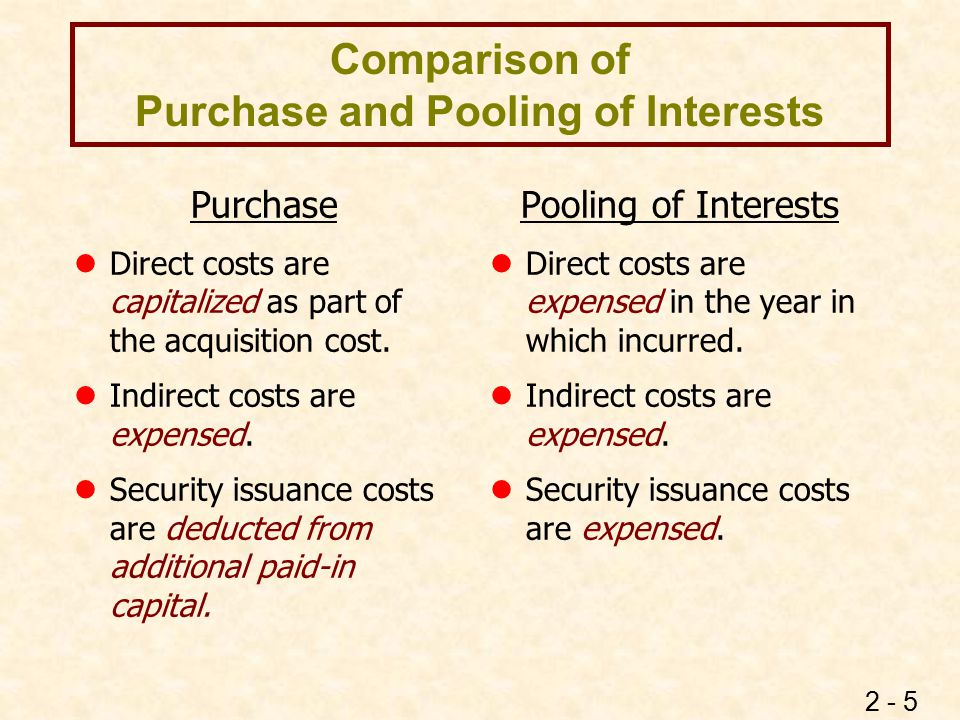 2 - 5 Comparison of Purchase and Pooling of Interests Purchase lDirect costs are capitalized as part of the acquisition cost. lIndirect costs are expe