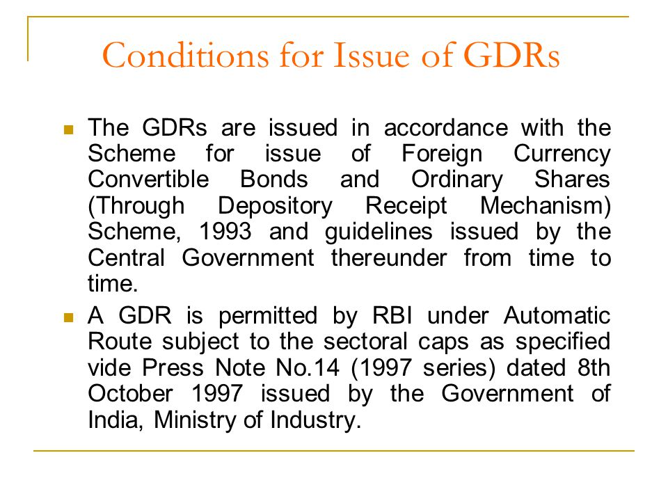 Procedure for Issue of GDRs contd… On the day of the opening of the Issue execute the Deposit and Subscription Agreements.