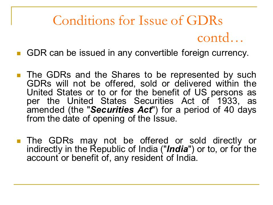 Other Reporting Compliances and Issues Within 30 days of the closing of the GDR issue, details of the GDR Issue along with the IM should be submitted to -the Ministry of Finance.