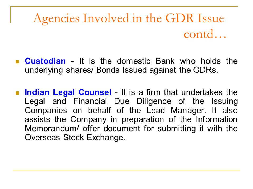 Conversion and Transfer of GDRs The holder of the GDR can transfer/sell the GDR in the Overseas Stock Exchange or request the Depository to cancel the GDR and release the underlying shares to his account.