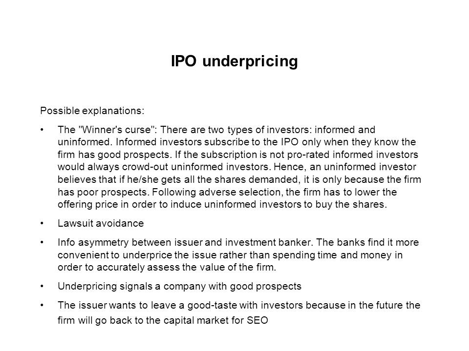 Pricing an IPO: Reality check I.