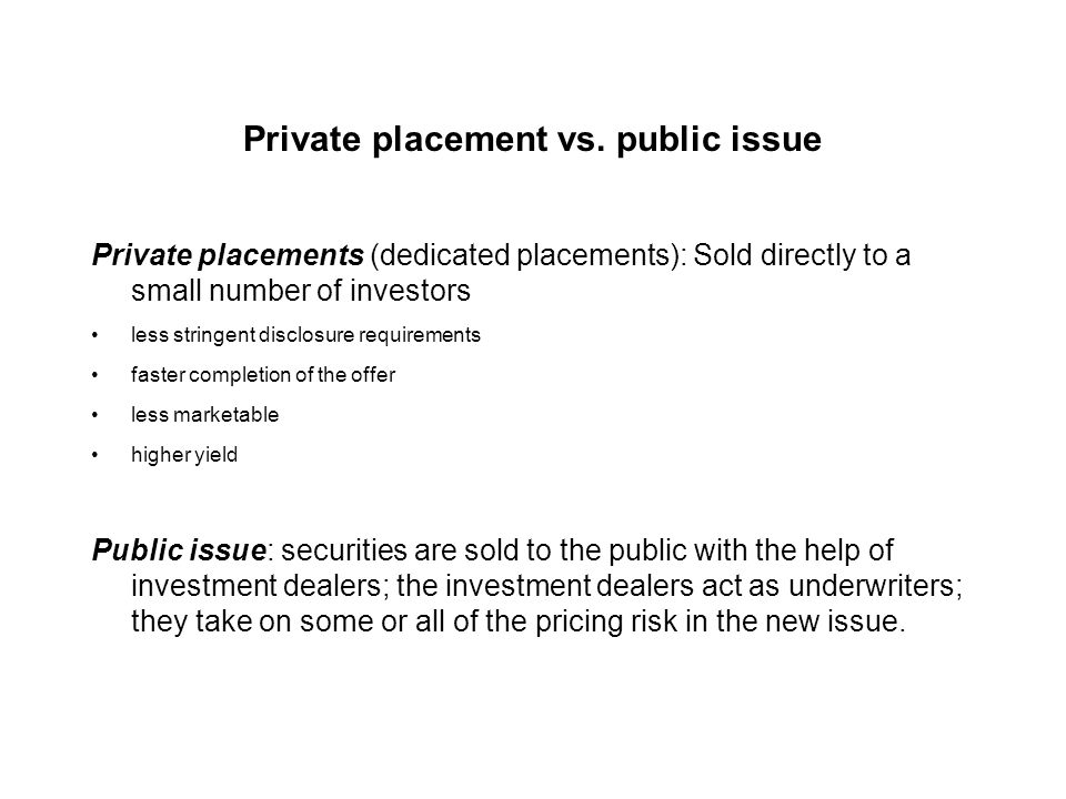 Types of offerings Private placements Public issue: cash offers (IPO or SEO) and rights offerings
