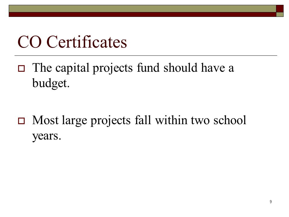 9 CO Certificates  The capital projects fund should have a budget.