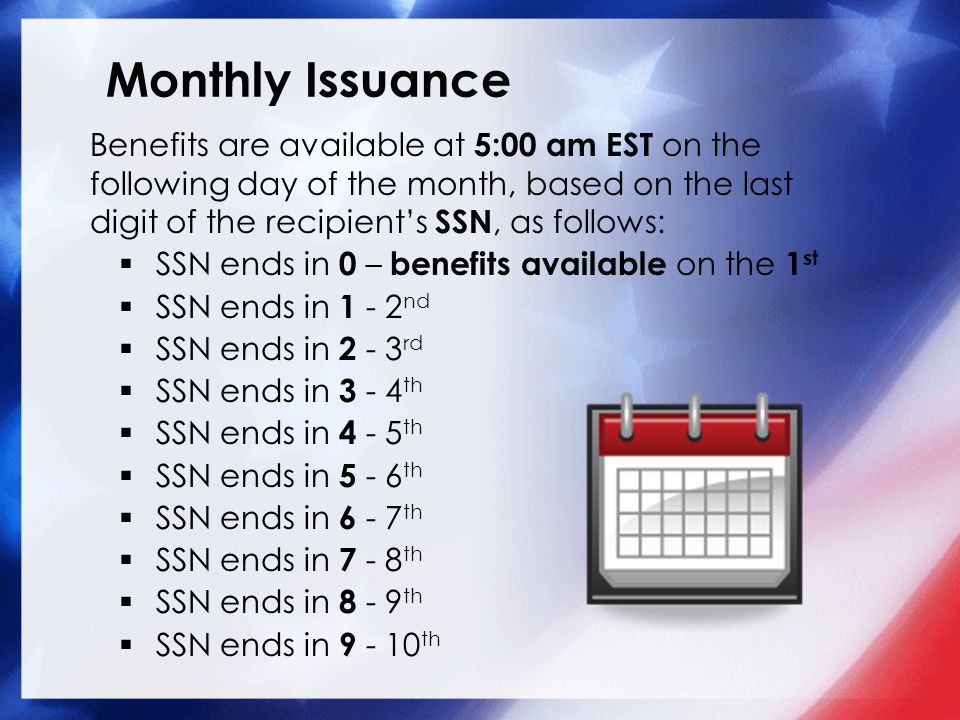 Monthly Issuance Benefits are available at 5:00 am EST on the following day of the month, based on the last digit of the recipient's SSN, as follows: