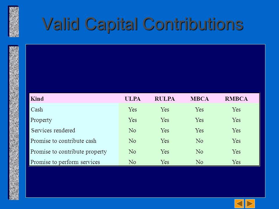 Valid Capital Contributions KindULPARULPAMBCARMBCA CashYes PropertyYes Services renderedNoYes Promise to contribute cashNoYesNoYes Promise to contribute propertyNoYesNoYes Promise to perform servicesNoYesNoYes