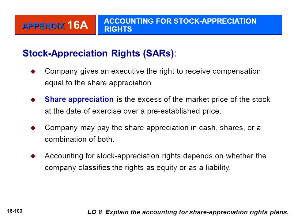 16-103 Stock-Appreciation Rights (SARs):  Company gives an executive the right to receive compensation equal to the share appreciation.  Share appre