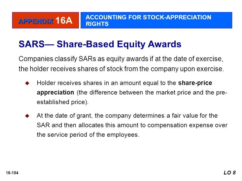 16-104 SARS— Share-Based Equity Awards Companies classify SARs as equity awards if at the date of exercise, the holder receives shares of stock from t