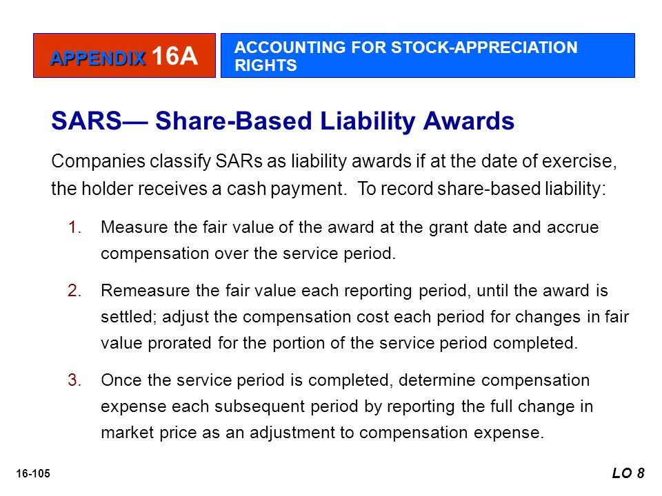 16-105 SARS— Share-Based Liability Awards Companies classify SARs as liability awards if at the date of exercise, the holder receives a cash payment.