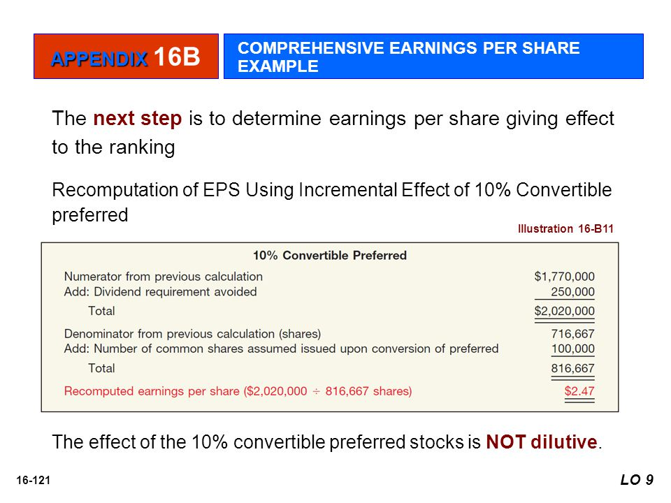 16-121 The next step is to determine earnings per share giving effect to the ranking Recomputation of EPS Using Incremental Effect of 10% Convertible