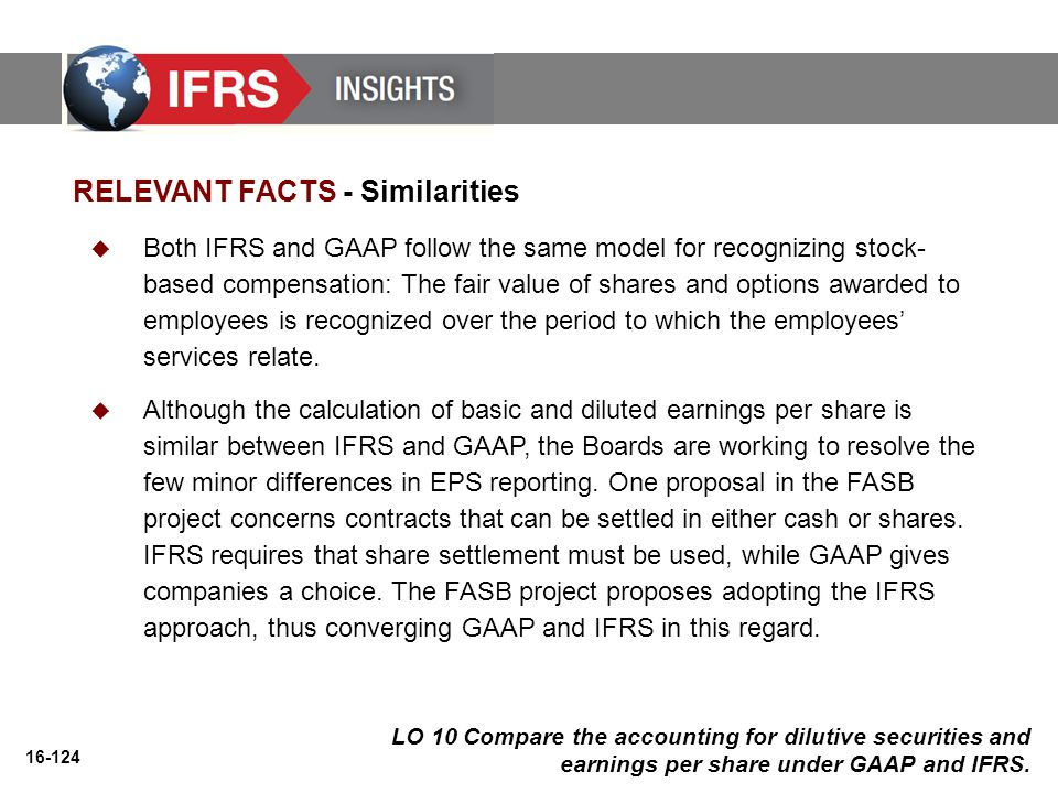 16-124 LO 10 Compare the accounting for dilutive securities and earnings per share under GAAP and IFRS. RELEVANT FACTS - Similarities  Both IFRS and