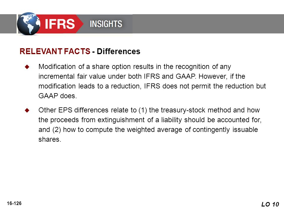 16-126 RELEVANT FACTS - Differences  Modification of a share option results in the recognition of any incremental fair value under both IFRS and GAAP