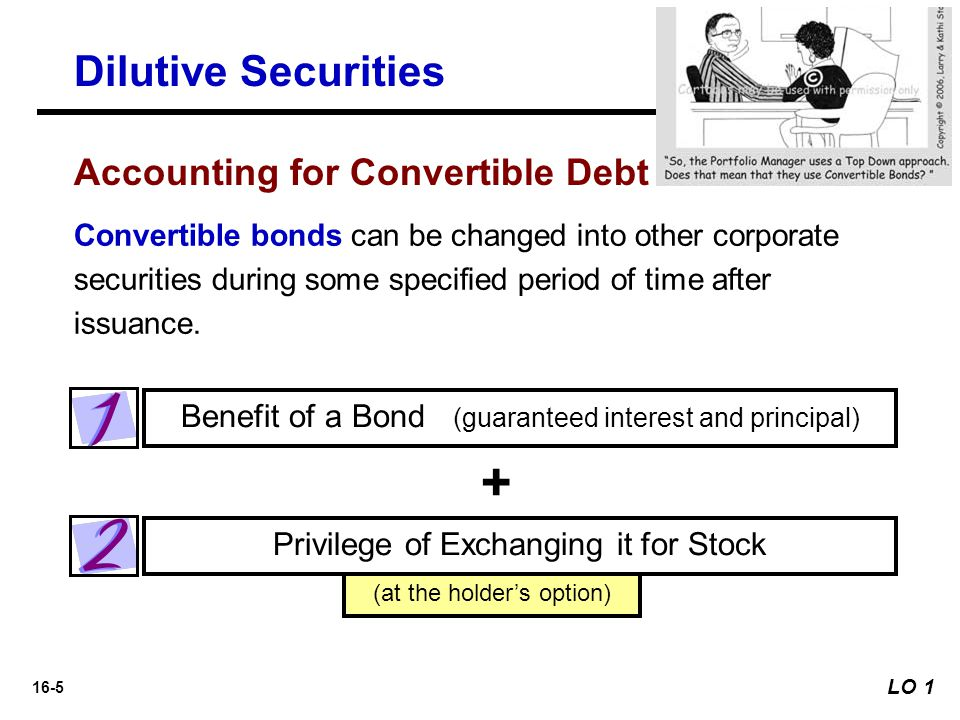 16-5 (at the holder's option) Benefit of a Bond (guaranteed interest and principal) Privilege of Exchanging it for Stock Convertible bonds can be chan