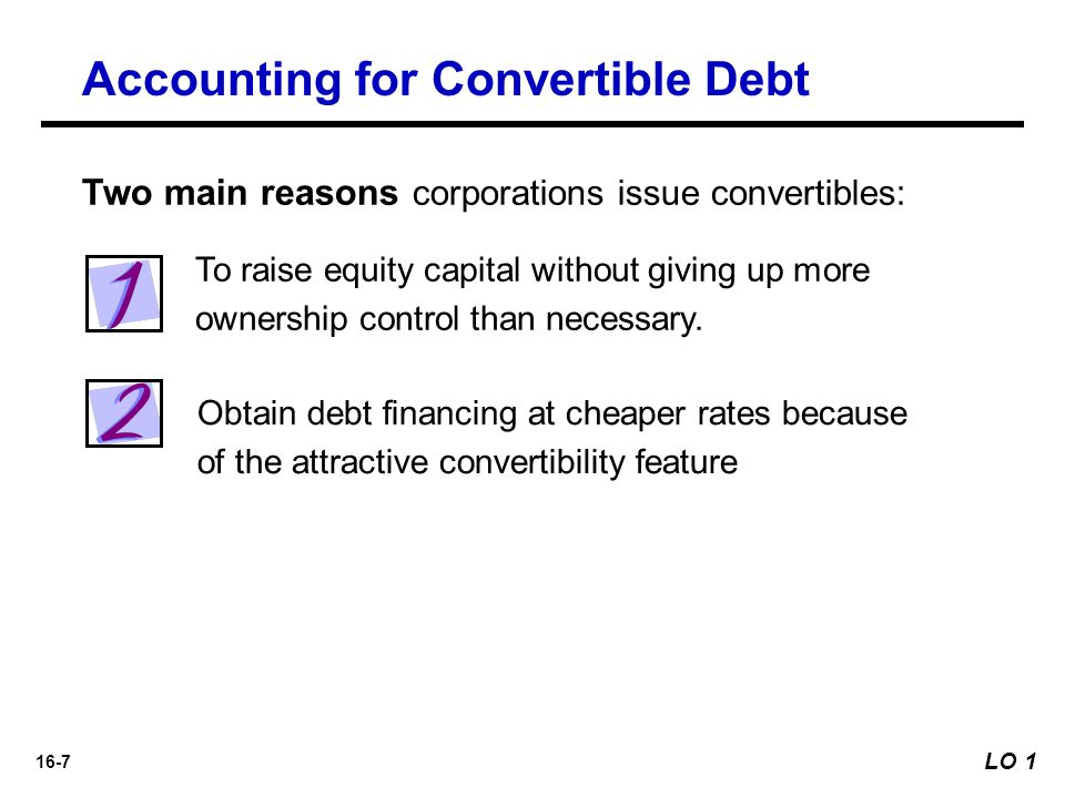 16-8 At Time of Issuance Accounting for Convertible Debt LO 1 Describe the accounting for the issuance, conversion, and retirement of convertible securities.