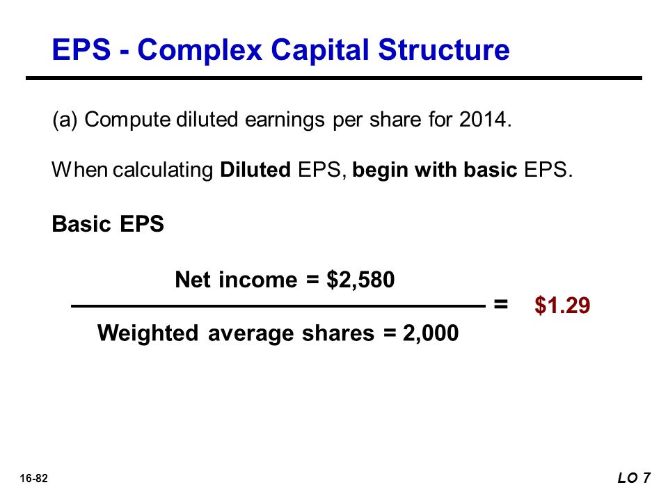 16-82 When calculating Diluted EPS, begin with basic EPS. Net income = $2,580 Weighted average shares = 2,000 = $1.29 Basic EPS EPS - Complex Capital
