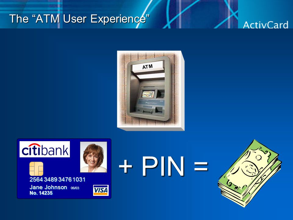 The ATM User Experience + PIN = 2564 3489 3476 1031 Jane Johnson 06/03 No.