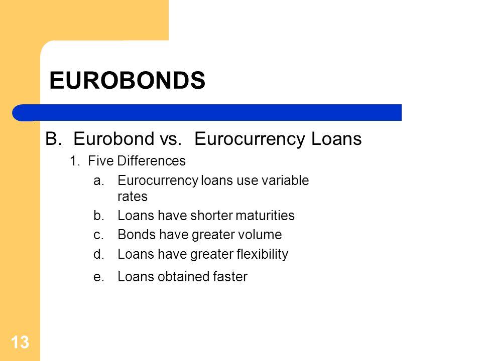 13 EUROBONDS B. Eurobond vs. Eurocurrency Loans 1. Five Differences a. Eurocurrency loans use variable rates b. Loans have shorter maturities c. Bonds