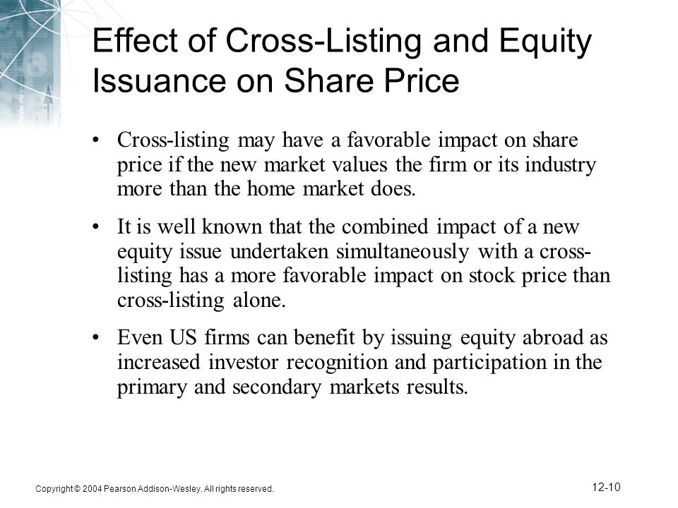 Copyright © 2004 Pearson Addison-Wesley. All rights reserved. 12-10 Effect of Cross-Listing and Equity Issuance on Share Price Cross-listing may have