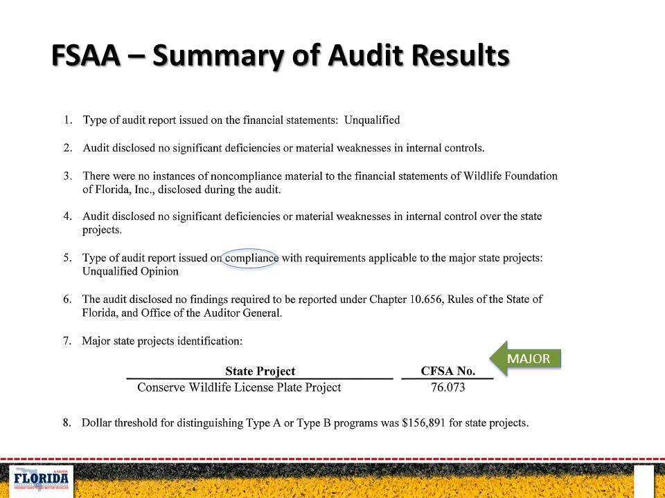 25 FSAA – Summary of Audit Results MAJOR