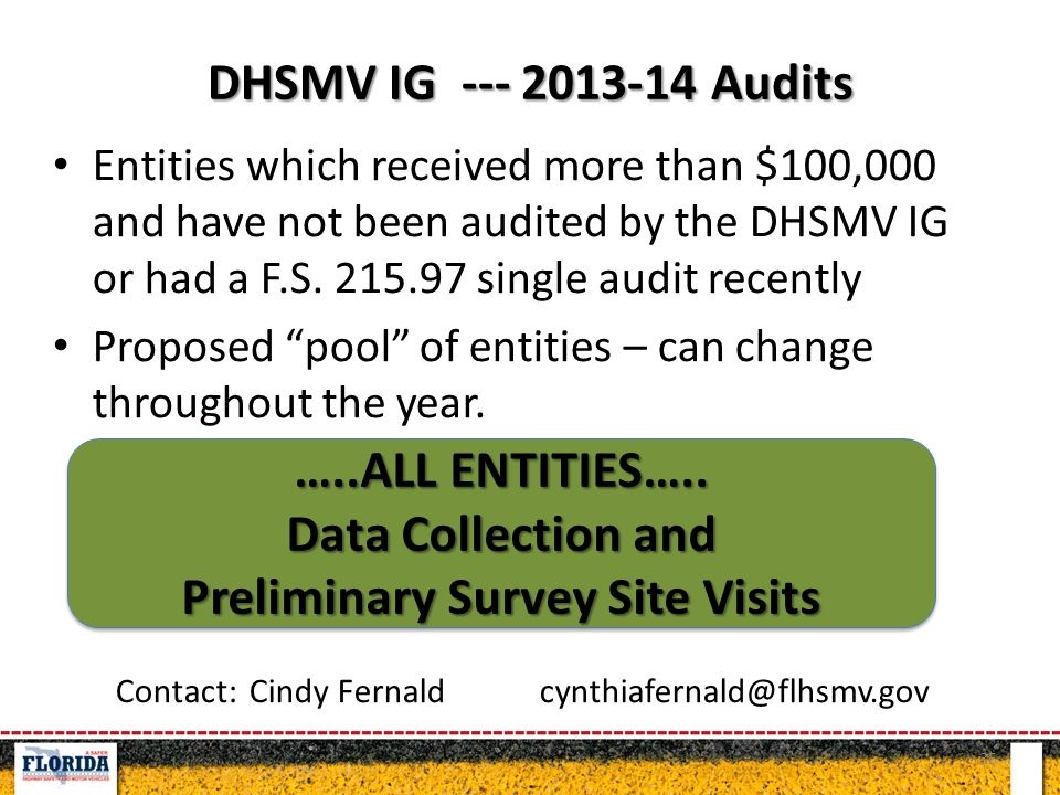 DHSMV IG --- 2013-14 Audits Entities which received more than $100,000 and have not been audited by the DHSMV IG or had a F.S.