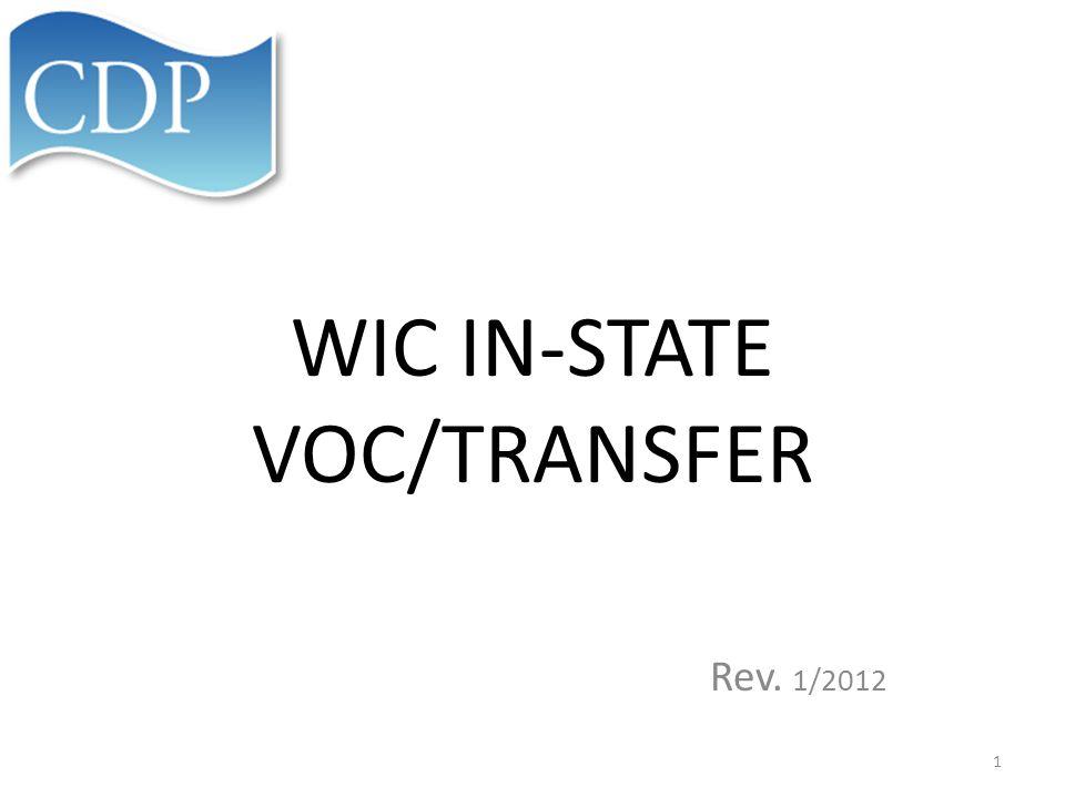 WIC IN-STATE VOC/TRANSFER Rev. 1/2012 1