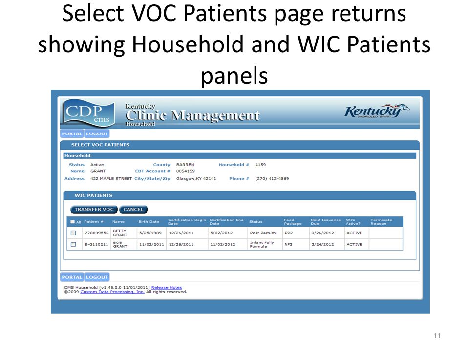 Select VOC Patients page returns showing Household and WIC Patients panels 11