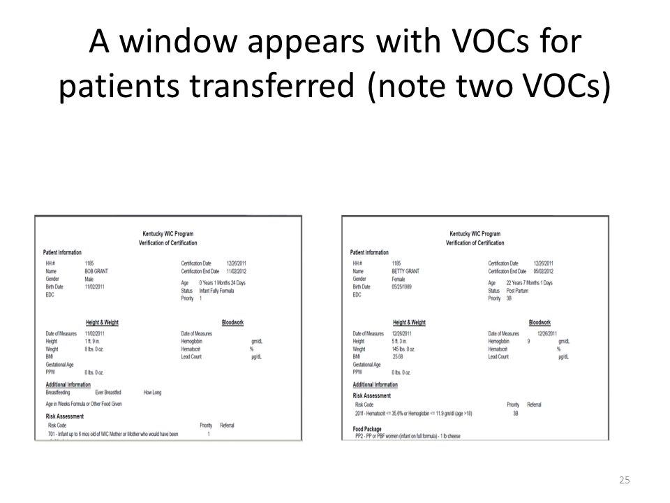 A window appears with VOCs for patients transferred (note two VOCs) 25