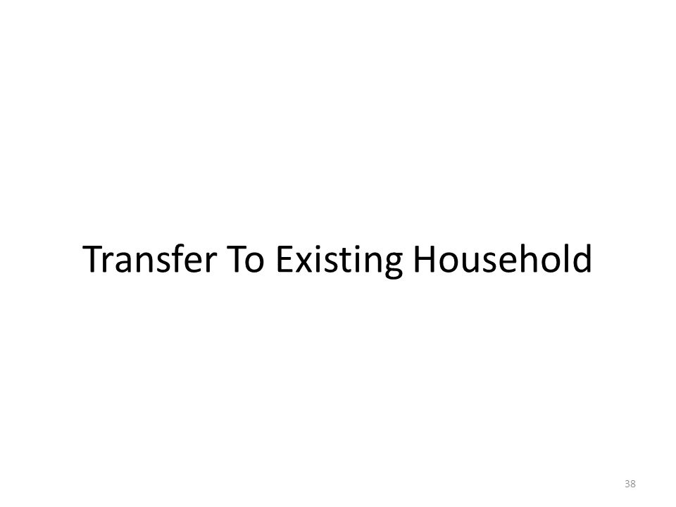 Transfer To Existing Household 38