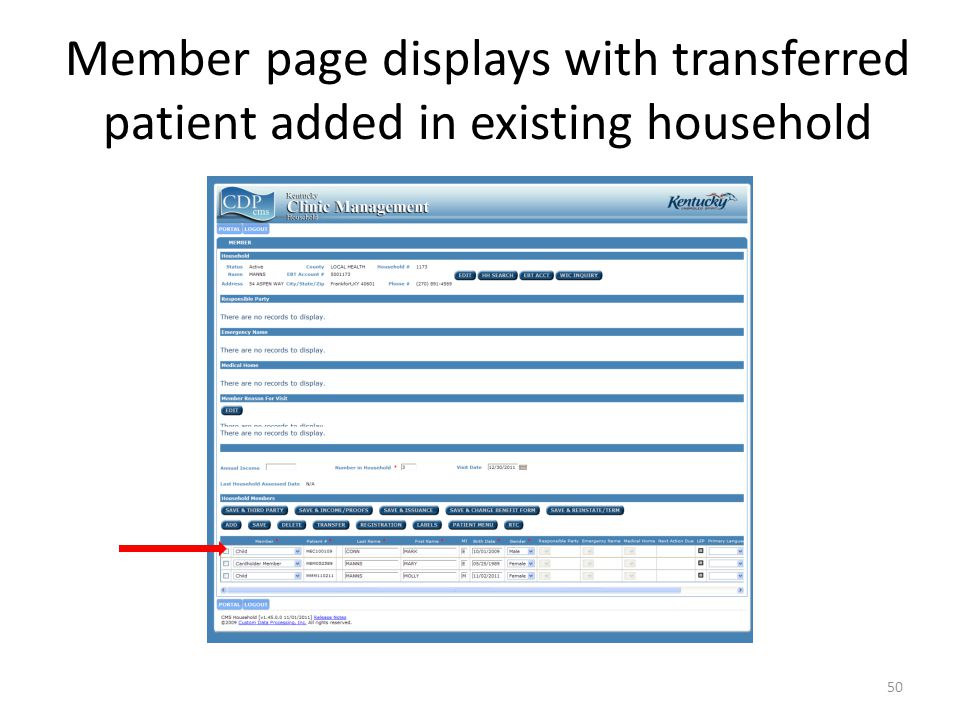 Member page displays with transferred patient added in existing household 50