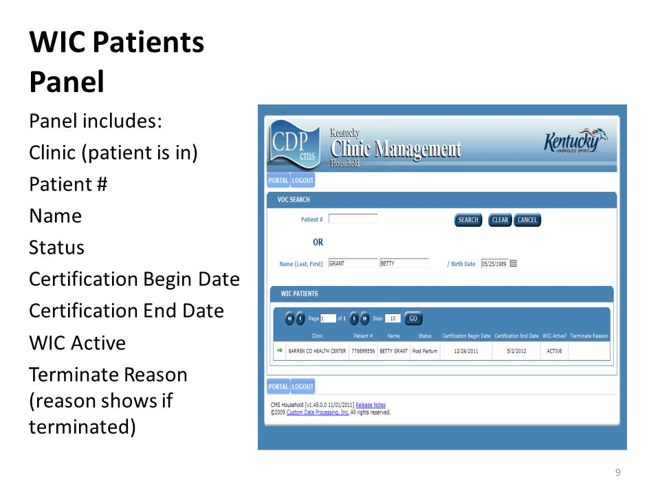 WIC Patients Panel Panel includes: Clinic (patient is in) Patient # Name Status Certification Begin Date Certification End Date WIC Active Terminate Reason (reason shows if terminated) 9