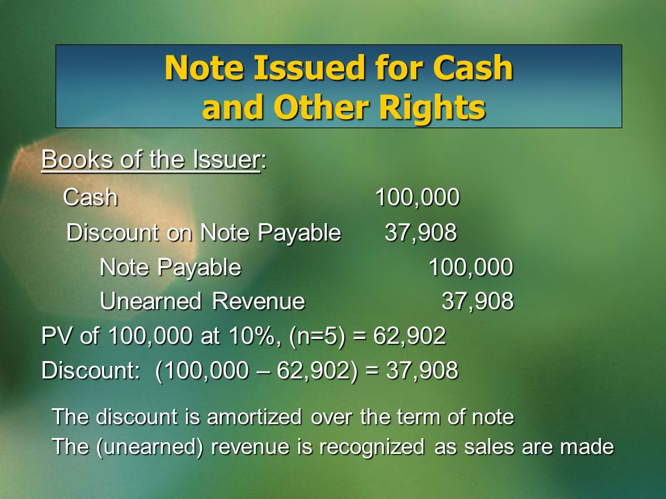 Note Issued for Cash and Other Rights Books of the Issuer: Cash100,000 Cash100,000 Discount on Note Payable 37,908 Discount on Note Payable 37,908 Note Payable 100,000 Note Payable 100,000 Unearned Revenue 37,908 Unearned Revenue 37,908 PV of 100,000 at 10%, (n=5) = 62,902 Discount: (100,000 – 62,902) = 37,908 The discount is amortized over the term of note The (unearned) revenue is recognized as sales are made