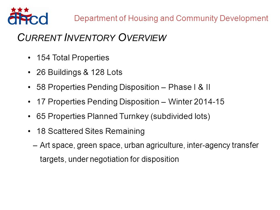 Department of Housing and Community Development C URRENT I NVENTORY O VERVIEW 154 Total Properties 26 Buildings & 128 Lots 58 Properties Pending Disposition – Phase I & II 17 Properties Pending Disposition – Winter 2014-15 65 Properties Planned Turnkey (subdivided lots) 18 Scattered Sites Remaining –Art space, green space, urban agriculture, inter-agency transfer targets, under negotiation for disposition