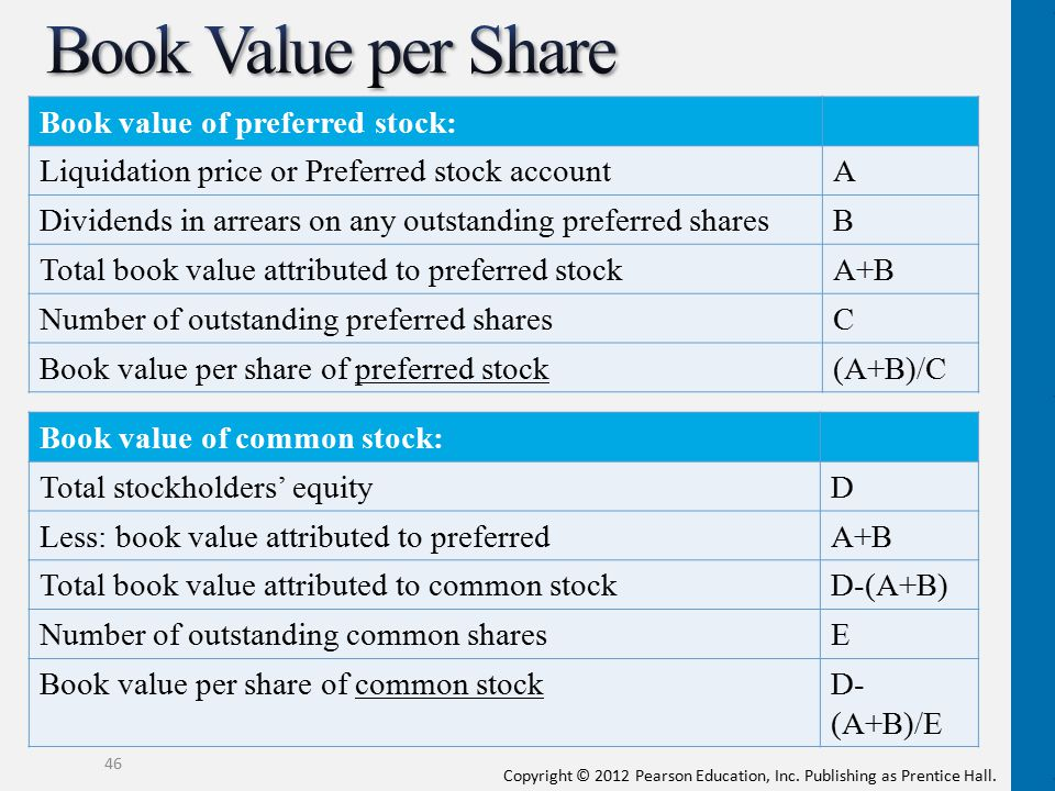 Copyright © 2012 Pearson Education, Inc. Publishing as Prentice Hall. Book value of preferred stock: Liquidation price or Preferred stock accountA Div