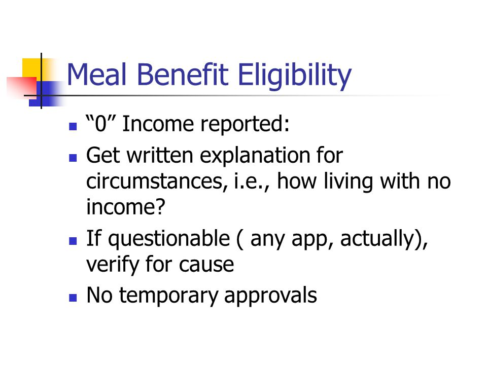 """Meal Benefit Eligibility """"0"""" Income reported: Get written explanation for circumstances, i.e., how living with no income? If questionable ( any app, a"""
