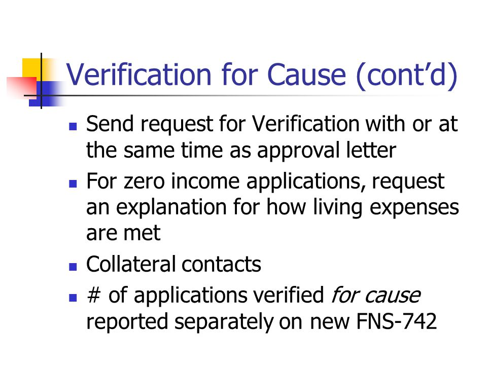 Verification for Cause (cont'd) Send request for Verification with or at the same time as approval letter For zero income applications, request an explanation for how living expenses are met Collateral contacts # of applications verified for cause reported separately on new FNS-742