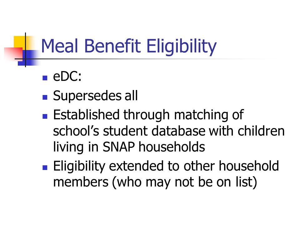 Meal Benefit Eligibility eDC: Supersedes all Established through matching of school's student database with children living in SNAP households Eligibi