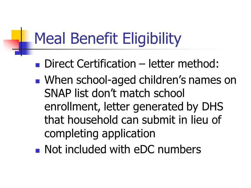 Meal Benefit Eligibility Direct Certification – letter method: When school-aged children's names on SNAP list don't match school enrollment, letter ge