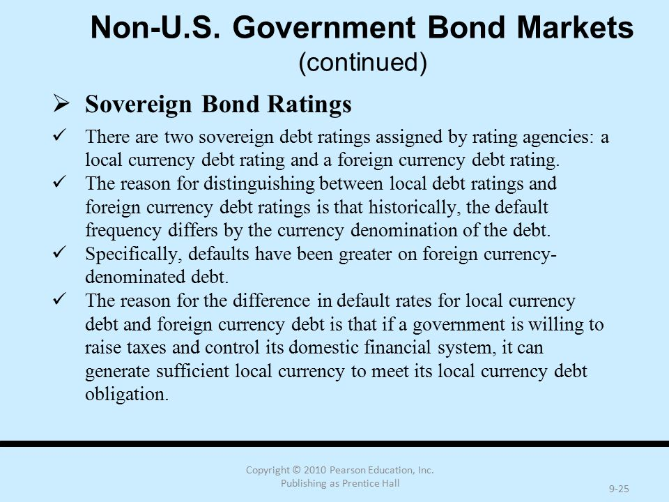 Copyright © 2010 Pearson Education, Inc. Publishing as Prentice Hall 9-25 Non-U.S. Government Bond Markets (continued)  Sovereign Bond Ratings There