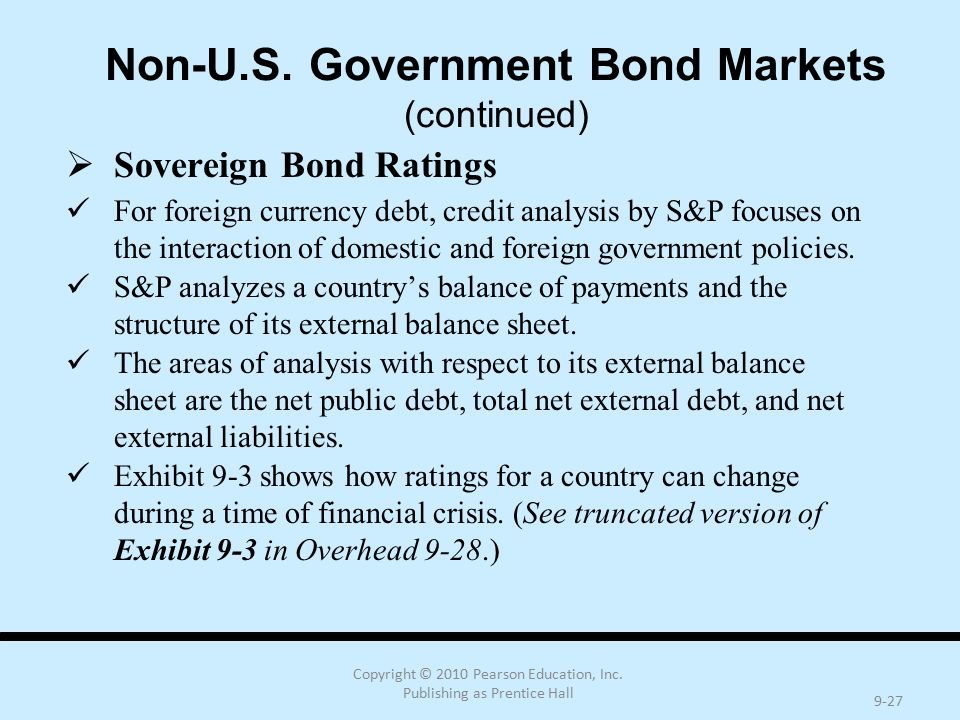 Copyright © 2010 Pearson Education, Inc. Publishing as Prentice Hall 9-27 Non-U.S. Government Bond Markets (continued)  Sovereign Bond Ratings For fo