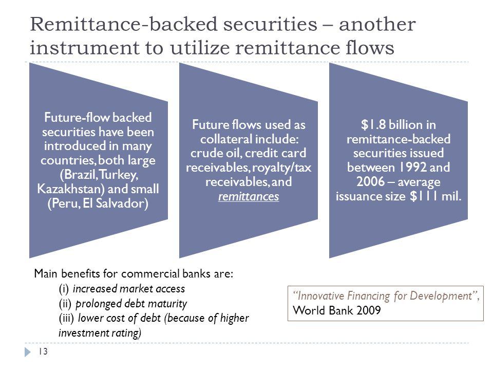 Remittance-backed securities – another instrument to utilize remittance flows 13 Future-flow backed securities have been introduced in many countries,