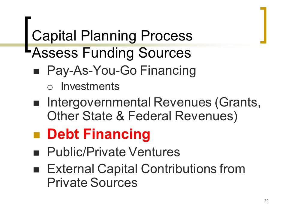 20 Capital Planning Process Assess Funding Sources Pay-As-You-Go Financing  Investments Intergovernmental Revenues (Grants, Other State & Federal Revenues) Debt Financing Public/Private Ventures External Capital Contributions from Private Sources