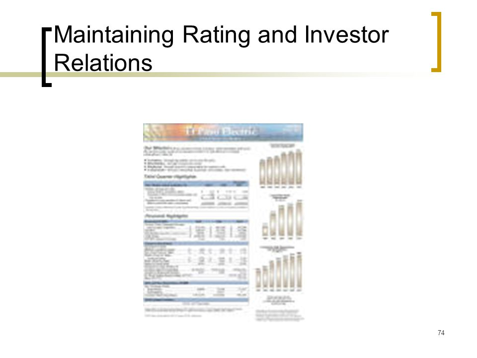 74 Maintaining Rating and Investor Relations